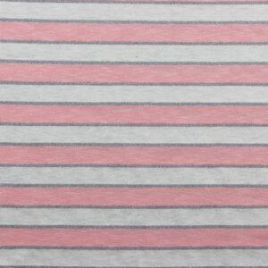 Gebreide tricot lurex stripes roze grijs zilver