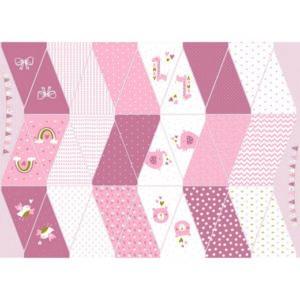 Katoen poplin digital - Geboorte slinger roze