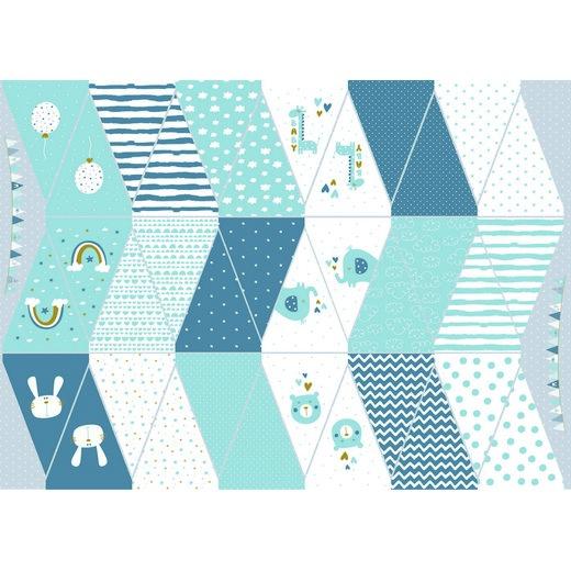 Katoen poplin digital - Geboorte slinger blauw