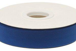 Kobalt blauw gevouwen biaisband 20 mm